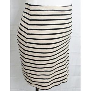 Tan/Black Stripe Stretch Bodycon Mini Skirt